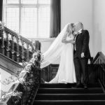 Bride and Groom Shepperton Studios Staircase