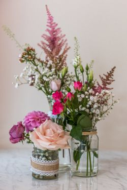Jam jar wedding flowers Sheperton