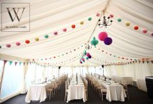 Multi coloured marquee set up