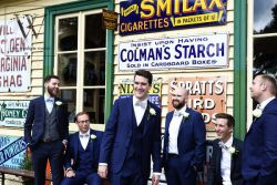 Groomsmen by station waiting room Fawley