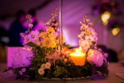 Evening flowers and candlelight