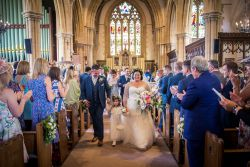 The happy Bride and Groom church exit